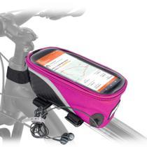 Bolsa porta objetos colorida pra bike, com saída de fone de ouvidos. - Tork Sports