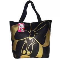 Bolsa Preta E Dourada Rosto Minnie Licenciada Disney - Drina