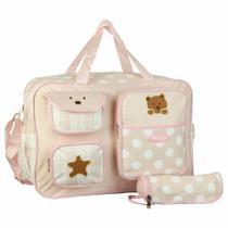 Bolsa Sacola de Maternidade Grande Meninas Rosa c/Trocador e Porta Mamadeira MM125 - Sp express