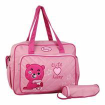 Bolsa Sacola de Maternidade Meninas Rosa c/Trocador e Porta Mamadeira MM121 - Sp express