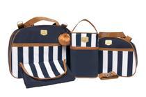 Bolsa Saida De Maternidade Kit 4 Peças Azul-marinho com listras - Bamboo