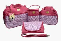 Bolsa Saída Maternidade Mala Bebê Menina/Menino Kit 4 Peças Pink - Chevron - Bamboo