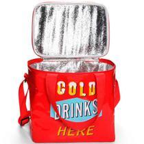 Bolsa Térmica Cold Drinks Here Vermelho Versare anos dourados