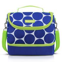 Bolsa Térmica Dots Com 2 Compartimentos Azul Jacki Design -