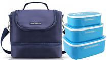 Bolsa Térmica Dupla Com Kit 3 Marmitas -jacki Design azul -