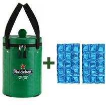 Bolsa Térmica para Barril da Heideken + 2 Cartelas de gelo em Gel - Haideken tomar meu Chopp