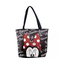 Bolsa Tote Preta Assinatura Rosto Minnie - Disney - Drina