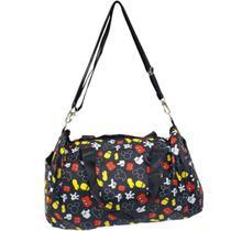 Bolsa Viagem Academia Preta Partes Corpo Mickey 22x43x25cm - Disney -