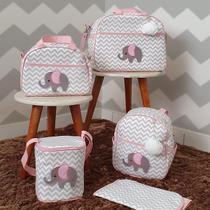 Bolsas de Maternidade Chevron Tema Elefante 5 Peças - Milori Baby