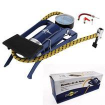 bomba de ar encher pneu com pedal para bike bicicletas moto bola infláveis com manômetro e 03 bicos adaptador - brasfort -