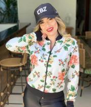 Bombers de suplex casaco de blogueira moletom floral zíper - Prsr