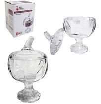 Bomboniere de vidro relevo com pe e tampa 17x10cm de ø na caixa - Dagia