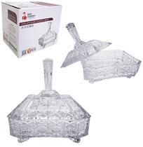 Bomboniere de vidro relevo com pe e tampa 21x19x14cm - Dagia