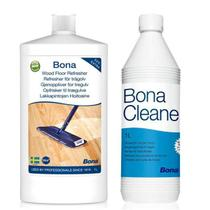 Bona - kit renovador brilho wood floor + limpador cleaner concentrado 1lt -