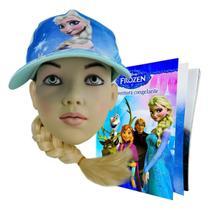 Boné Frozen Com Trança 43 Cm + Livro De História E Atividades - Taimes