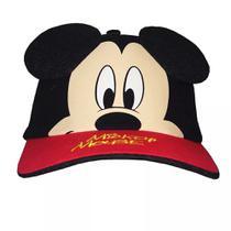 Boné Infantil Mickey Vermelho E Preto Com Orelhas Disney - Drina