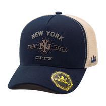 Boné Overking Aba Curva Trucker New York City Azul Bege -