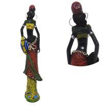 Boneca Africana Enfeite Para Mesa Sala Vestido Marrom Decoracao (6819/Vermelho/A) - Braslu
