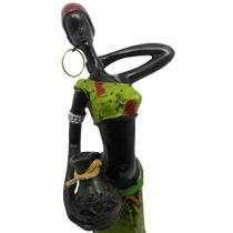 Boneca Africana Resinada Enfeite Sala Mesa Decoracao Vestido Verde (6819) - Braslu