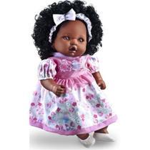 Boneca Angelina Negra Fala 62 Frases 48 cm Milk Brinquedos 212 -