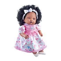 Boneca Angelina Negra Linda Com Cabelo Fala 62 Frases - Milk -