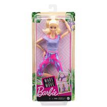 Boneca Barbie Articulada Loira GXF04 - Made to Move - Mattel -