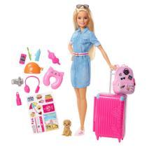Boneca Barbie - Barbie Viajante com Pet e Adesivos - Mattel -