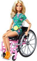 Boneca Barbie Cadeira De Rodas Fashionista 165 Loira - Grb93 - Mattel -