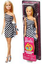 Boneca Barbie Colecionável Loira Tradicional Vestido Preto Branco - Edição Especial 60 Anos - Mattel -