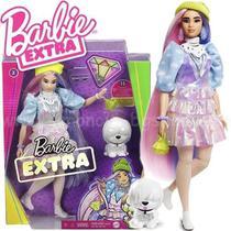 Boneca Barbie Extra Articulada Oriental Cabelo Comprido Com Pet E Acessórios Mattel -