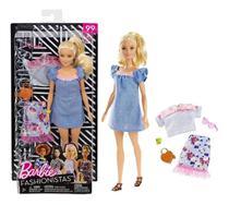 Boneca Barbie Fashionista Loira Com Roupinhas e Acessórios Modelo 99 Mattel -