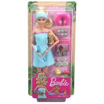 Boneca Barbie Fashionista Um Dia de Spa com Filhotinho Gkh73 - Mattel