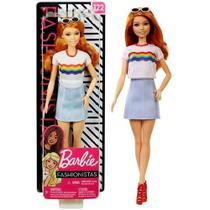 Boneca Barbie Fashionistas Branca Ruiva Moderna Blusa Branca Estampa Arco Íris Número 122 - Mattel -