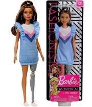Boneca Barbie Fashionistas Menina Morena Com Prótese Na Perna Protética Doll 121 Fashion - Mattel -