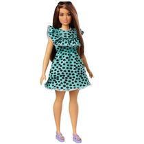 Boneca Barbie Fashionistas  Morena Vestido Verde Água Bolinhas 149 - FBR37 - Mattel -
