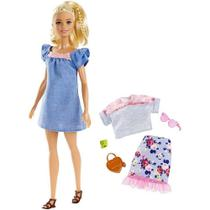 Boneca Barbie Loira Vestido Jeans Fashionistas Doll Número 99 - Uma Roupa Traje Extra - Mattel -