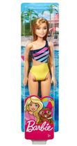 Boneca Barbie Moda De Praia Loira Maio Listrado Mattel -