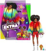 Boneca Barbie Negra - Extra Com Casaco Arco - Íris - Mattel -
