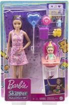 Boneca Barbie Skipper Morena Aniversário do Bebê Mattel -