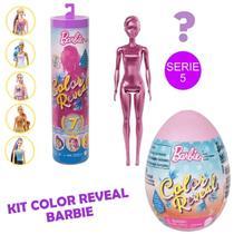 Boneca Barbie Tubo e Ovo Surpresa Color Reveal Pets Mattel -