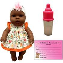 Boneca Bebê Bebezinho Real Menina Recém Nascida Morena Negra Vinil Estilo Reborn - Cotiplás -
