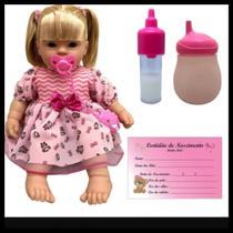 boneca bebe LIS COM MAMADEIRA CERTIDÃO DE NASCIMENTO FRALDA - Divertoys