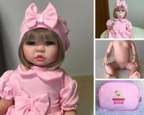 Boneca Bebê Loira Rosa Reborn Corpo De Silicone E Kit Completo - Sonho De Criança