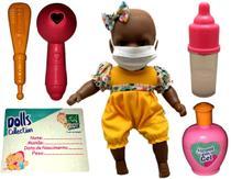 Boneca Bebê Menina Recém Nascida Morena Negra Cuidados Com Acessórios Estilo Reborn - Super Toys -
