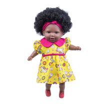 Boneca Bebê Negra Tayla Com Cabelo Cacheado e Sapatinhos - Cotiplás