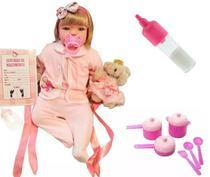Boneca Bebê Realista Loira - Kit Enxoval e Jogo de Panelinhas - Sid-nyl