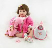 Boneca Bebê Reborn 52cm + Girafa De Brinde Pronta Entrega -