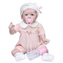 boneca bebe reborn 55cm corpo de silicone roupa urso panda - Dominio Imports