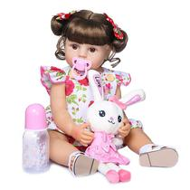 boneca bebê reborn corpo de silicone vinil 55cm acompanha o pelúcia - Npk Collection