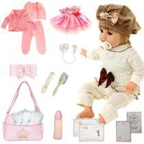 Boneca Bebê Reborn Isadora Bambola 01 Loira Menina 24 Itens - Outras Marcas